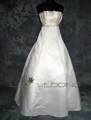 Pleated Bodice Wedding Dress - Style LWD0136