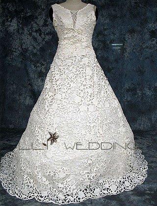 Lace-Up V-Neckline Wedding Dress - Style LWD0147