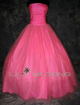 Pink Strapless Wedding Dress - Style LWD0150