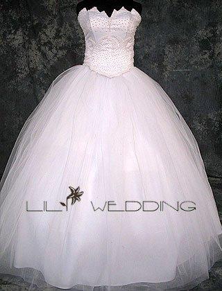 Strapless Satin Wedding Dress - Style LWD0153