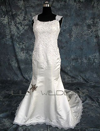 Satin&Lace Wedding Gown - Style LWD0154