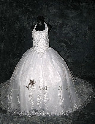 Satin Tulle And Lace Wedding Dress - Style LWD0157