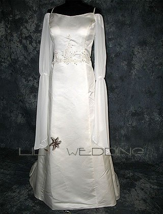 Long Sleeves Satin&Chiffon - Style LWD0158