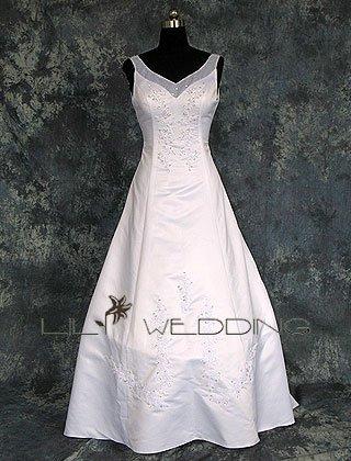Sweetheart Satin&Organza Wedding Dress - Style LWD0159