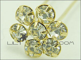 Flower Rhinestone Hair Pins