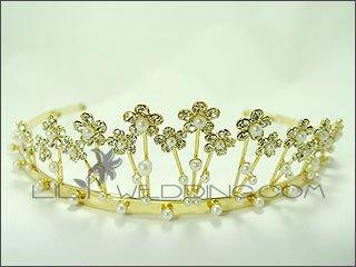 Elegant Pearl Gold Tiara