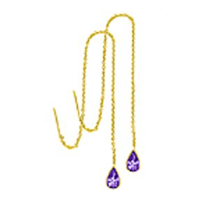 14k Pear Shape Amethyst On Dangle Chain Earrings (2.0 cts.tw.)