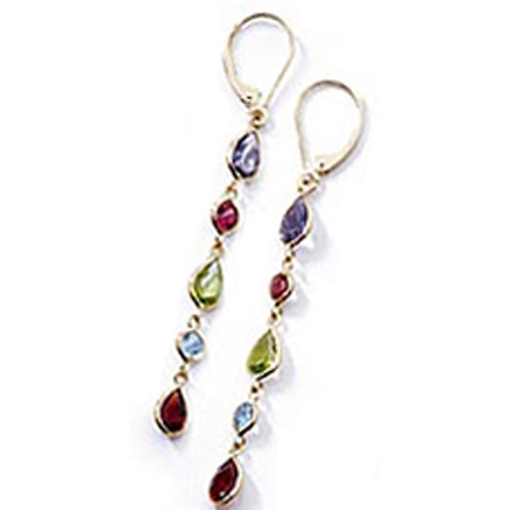 14k Gold Multi Gems Chandelier Dangle Earrings (7.0.cts.tw)