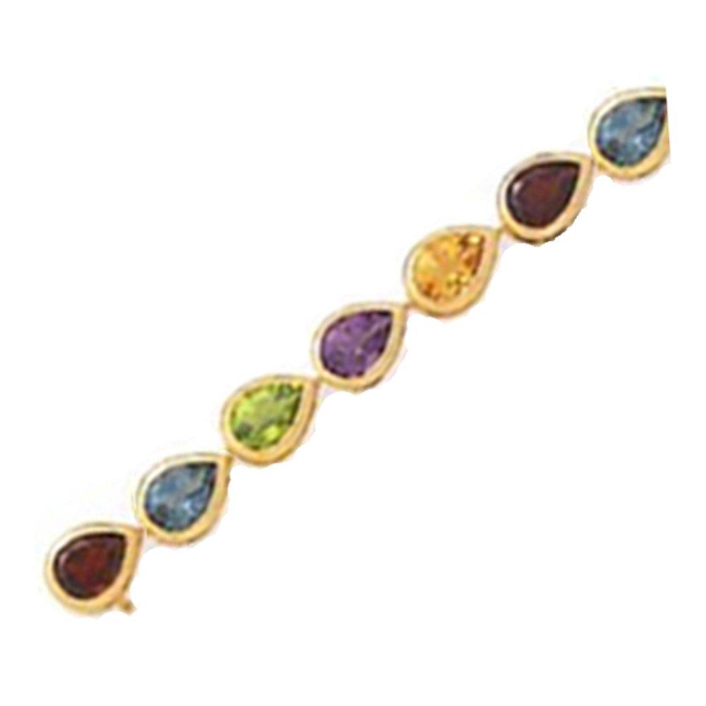 14k Multi Pear-Shape Semi Precious Stone Bracelet  (18.0 cts.tw.)