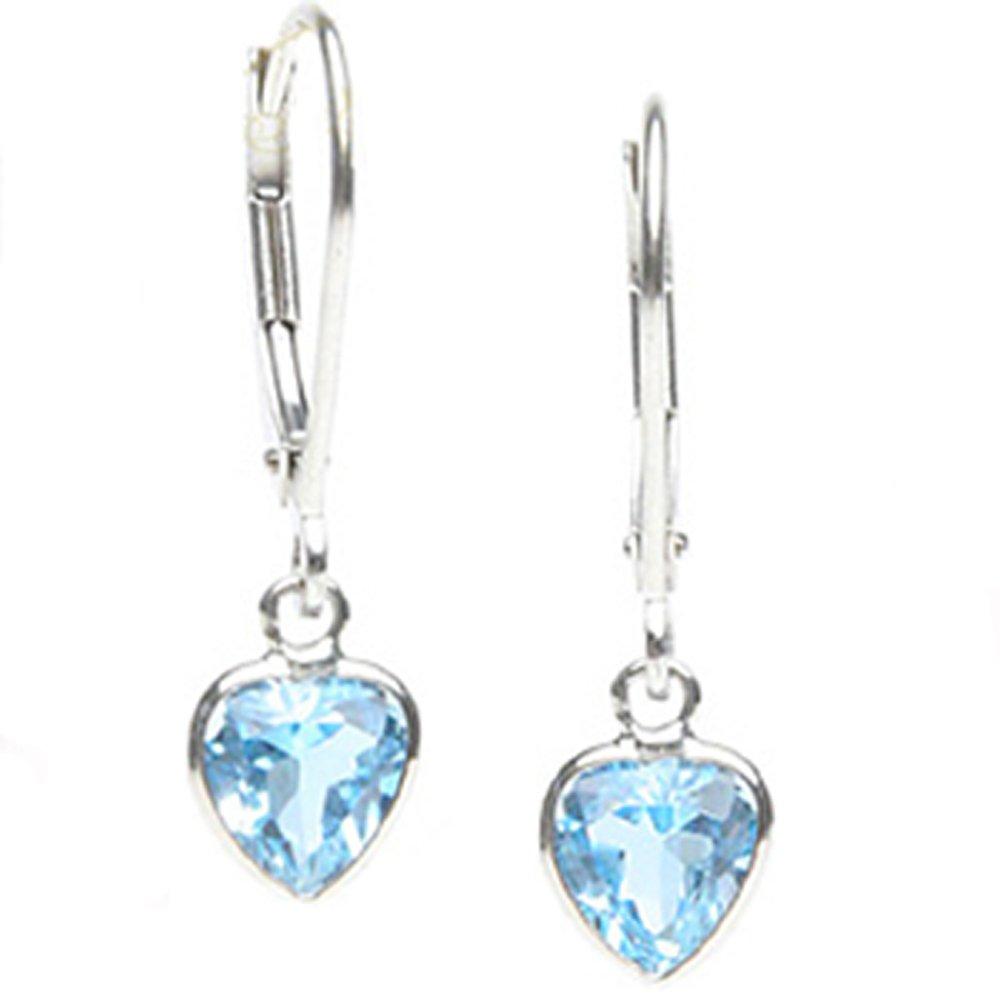 14k Heart-Shaped Blue Topaz Dangle Earrings (2.0 cts.tw.)