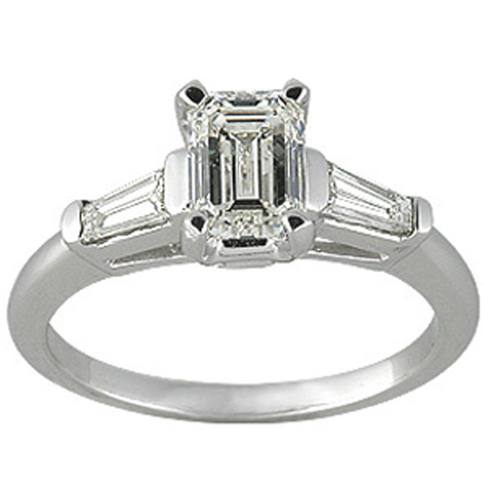 14k Gold Emerald Cut Baguette Diamond Bands (1.24.cts.tw)