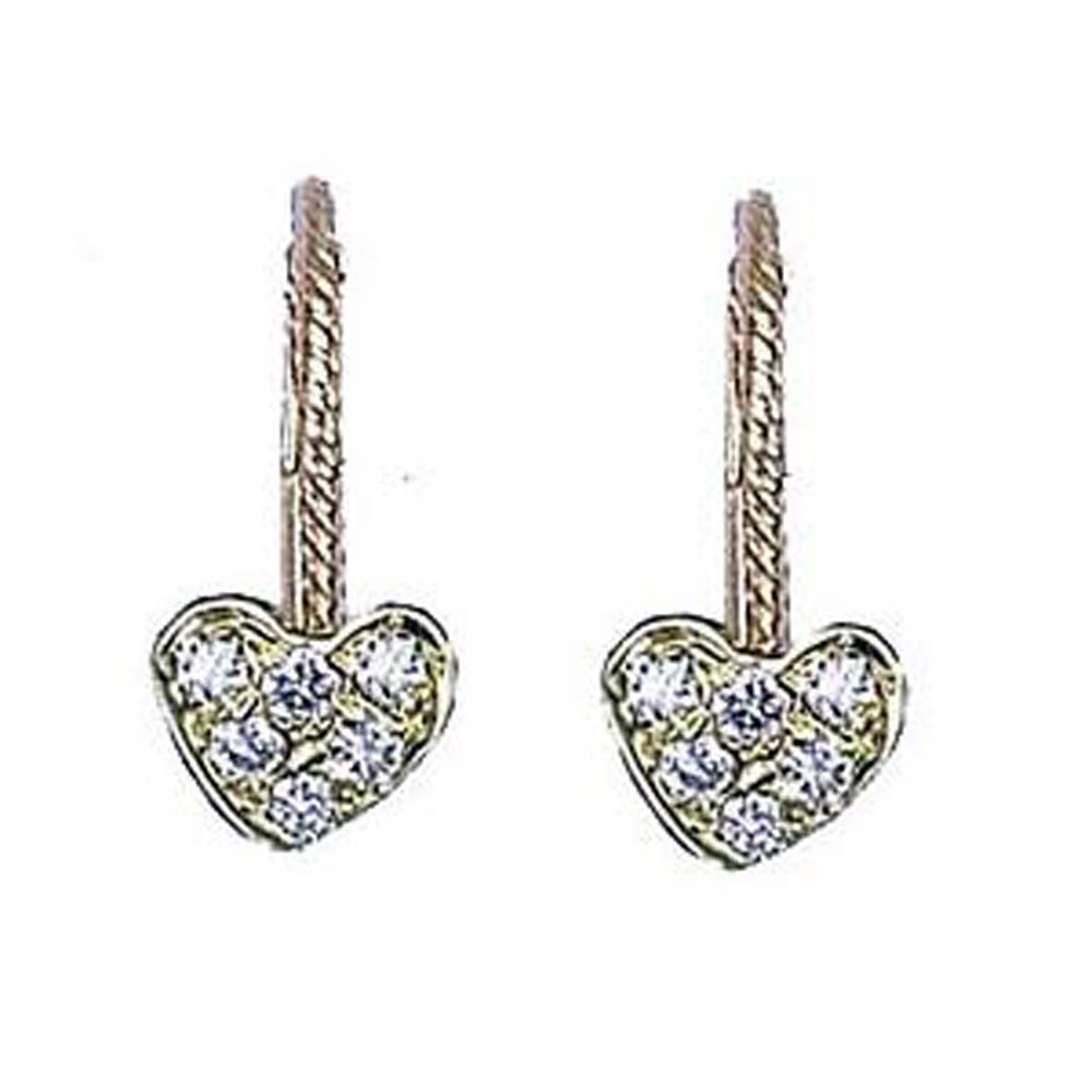 14k Gold Diamond Mini Heart-Shaped Dangle Earrings (0.12.ct.tw)