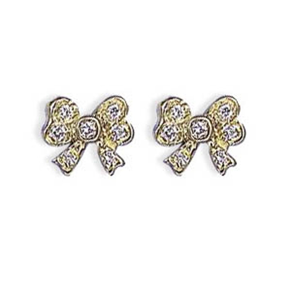 14k Solid Gold Diamond Mini Bow Earrings Stud (0.12.ct.tw)