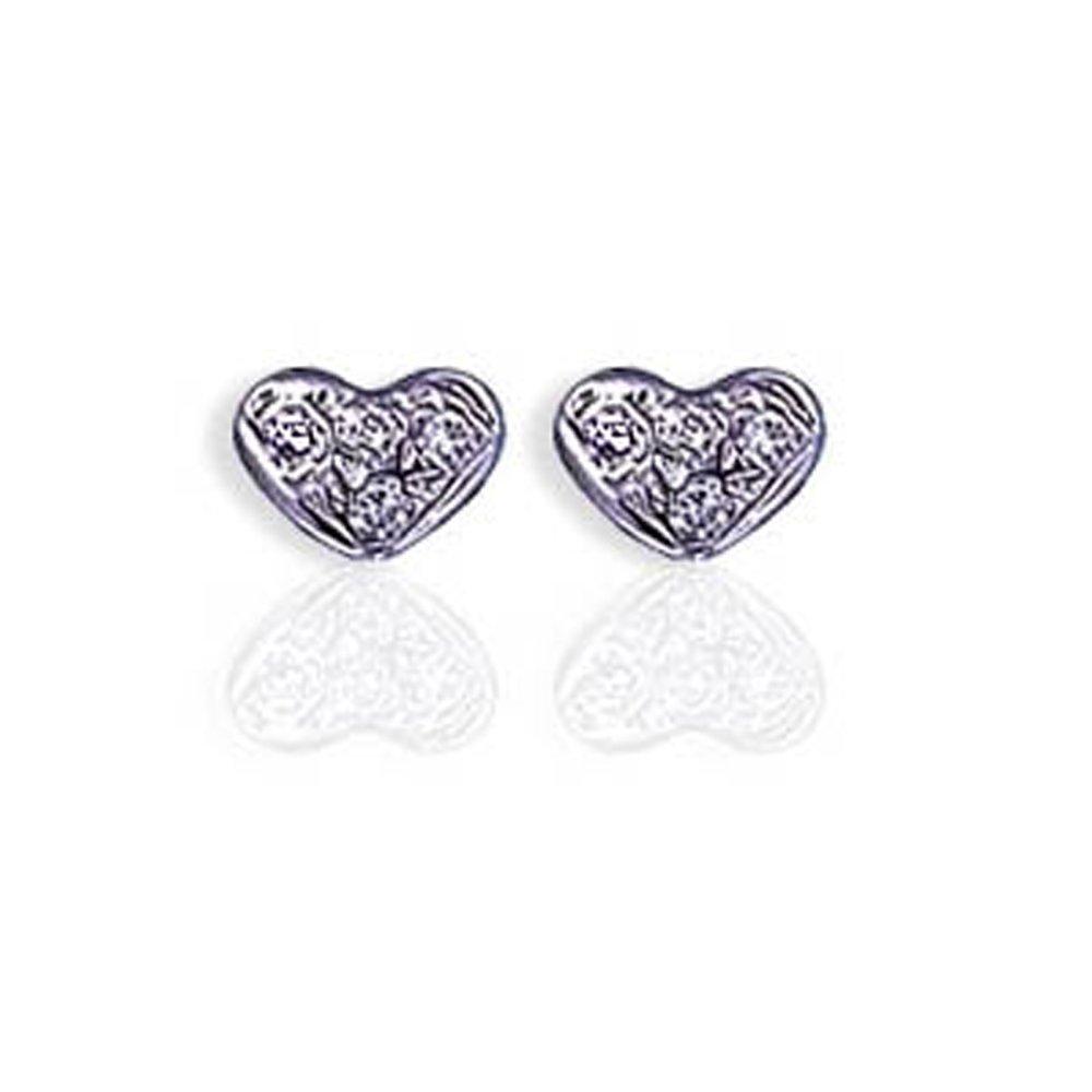 14k Solid Gold Diamond Heart Shape Earrings Stud (0.08.ct.tw)