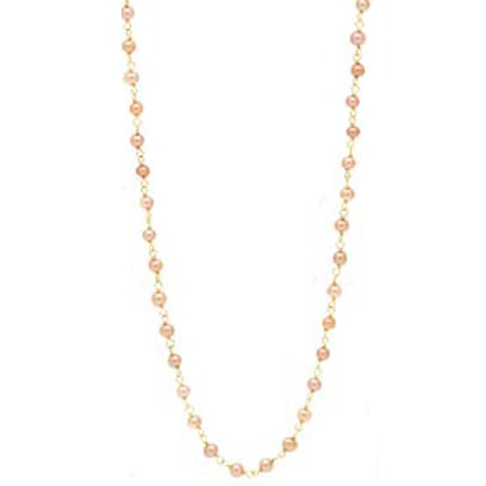 14k Gold Pink Culture Freshwater Pearl Twisted Necklace