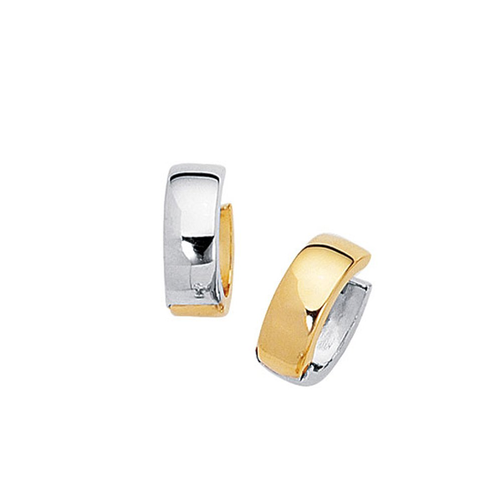 14k Solid Gold Cuddlies Two-Tone Huggie Earrings (3.2.gr.tw)