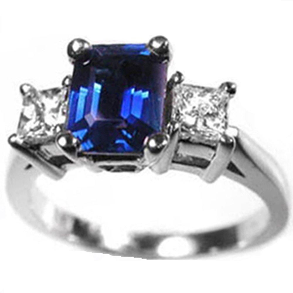 14k 3 Stone Emerald Sapphire Diamond Ring (1.52 cts.tw.)