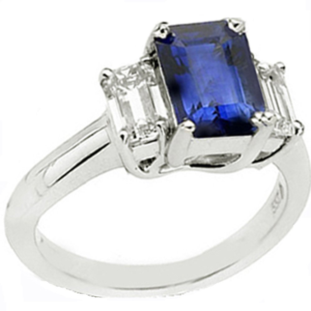 14k Gold Emerald Cut Sapphire Diamond Ring (1.60.cts.tw)
