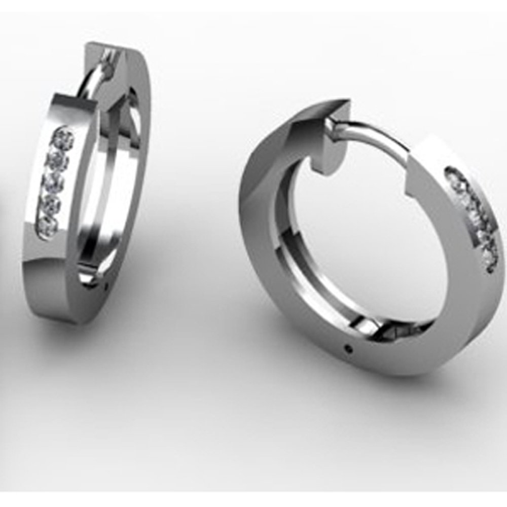 14k Solid Gold Round Diamond Huggie Earrings (0.12 ct.tw.)