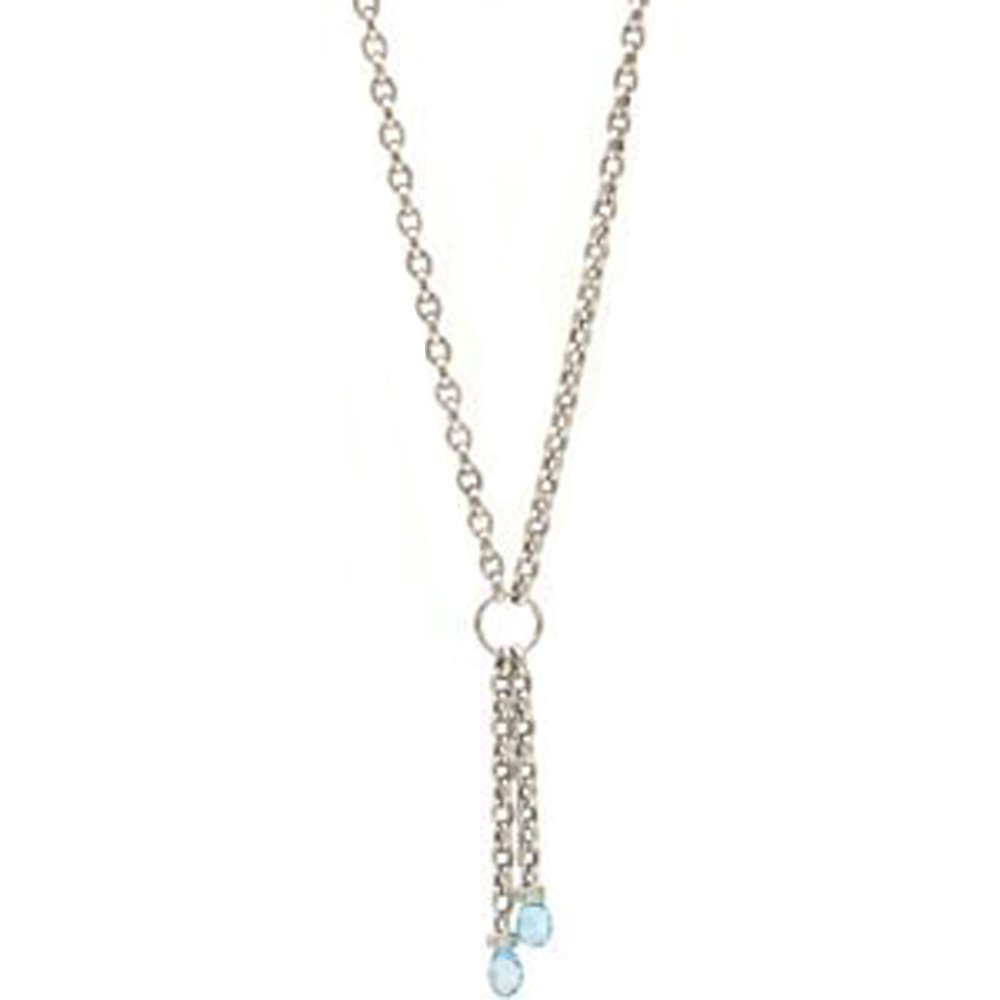 14k Solid Gold Lariat Blue Topaz Briolette Necklace (3.00 cts.tw.)