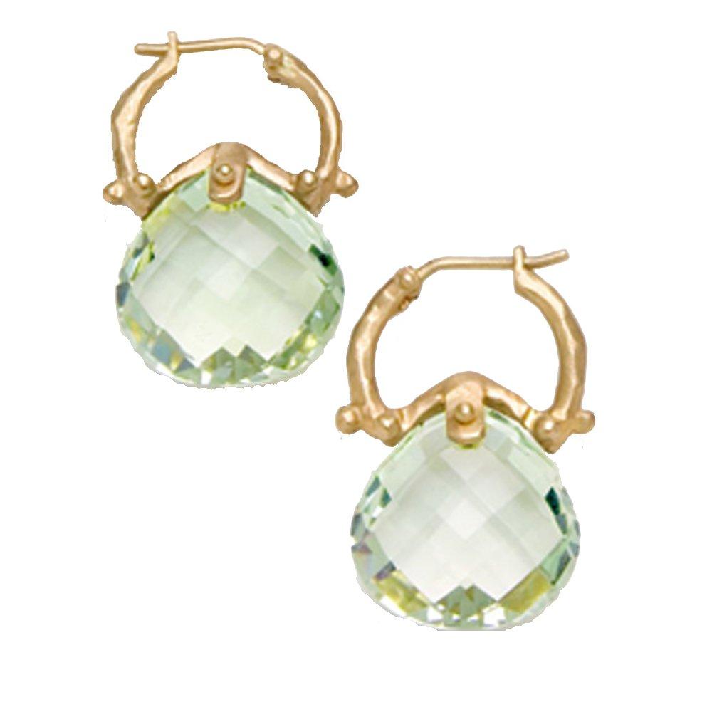 14 k Yellow Teardrop Green Quartz Briolette Earring (10.00 cts.tw.)