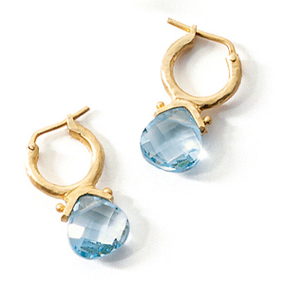14k Gold Tear-drop Swiss Blue Briolette Earring (5.0.cts.tw)