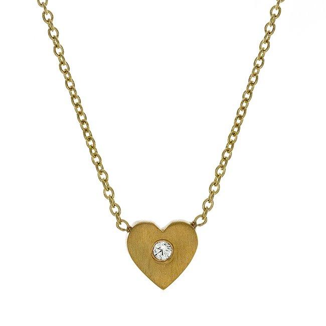 14k Mini Diamond Heart-Shaped Necklace (0.02 ct.tw.)