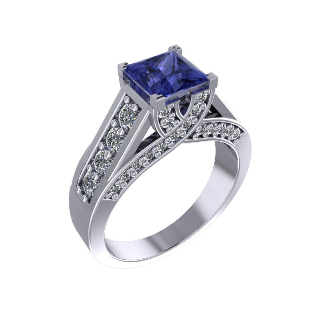 14k Cushon Cut Triple A Tanzanite Diamond Ring (1.22 cts.tw.)
