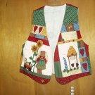 Handmade Country Bears at Heart Flower Vest L