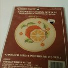 Vogart Crafts Counted Cross Stitch Orange with Hoop