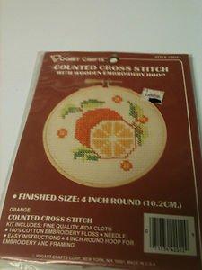 Vogart Crafts Counted Cross Stitch Orange with Hoop