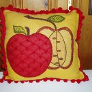 Hand Embroidered Appliqued Gold Apple Pillow Cover with Red Ball Fringe 16x16