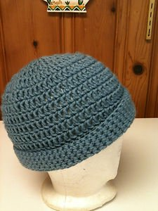 Girls Hand Crocheted Dusty Blue Hat Cap