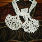 Vintage Hand Crocheted Collar - White- Tie/Wrap Style