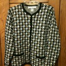 Crystal Kobe Black, White & Tan Button Front Cardigan, Jacket, Size Large