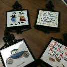 Set of 4 Vintage Cast Iron Trivets / Hot Pads with Tiles
