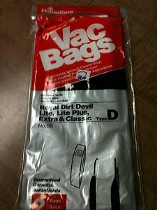 Vac Bags #55 Royal Dirt Devil Type D - 2 bag - Disposable Vacuum Cleaner Bags