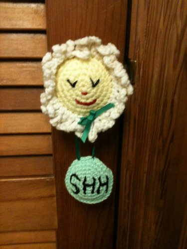 """SHH"" Baby is Sleeping Flower with Eyes Closed Door Knob Cover Hanger Hand Croc."