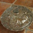 Vintage KIG Malaysia Glass Serving Bowl With Lid Hearts & Fleur De Lis