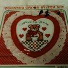 "Teddy Bear ""Celebrate the Season""  Counted Cross Stitch Kit w/frame"