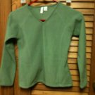 Girls Old Navy V-Neck Long Sleeve Velour Green Top Shirt - Size M (8)