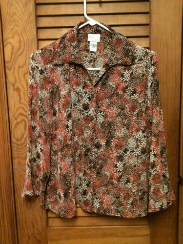 Kim Rogers Signature Button Front 3/4 Ruffle Sleeve Semi Sheer  Blouse Top Sz S
