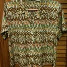 Alfred Dunner S/S Button Front Multi Color Green Brown Orange Blouse Top - 10P