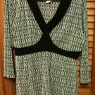 J.T.B. Brown/Black/Turquoise Pleated Blouse Top Shirt - Size Large - 3/4 Sleeves