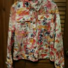 LH Sport Cute Pink Print Design Lightweight Button Front  Jacket Top - Size M -