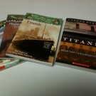 Set of 4 - 3 Magic Tree House - 1 Scholastic Titanic - Pirates, Mummies, Titanic