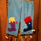 cRaZy Adorable Christmas Fleece Scarf/Wrap with Dangling Stockings - EUC