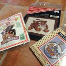 3 Counted Cross Stitch Kits -Happy Moo Year Cow/Teddy Bears/Noah's Ark New in pk