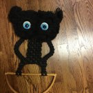 Vintage 1970's Macrame Owl Black Kitchen/Bath Towel Holder Wall Decor-  Handmade