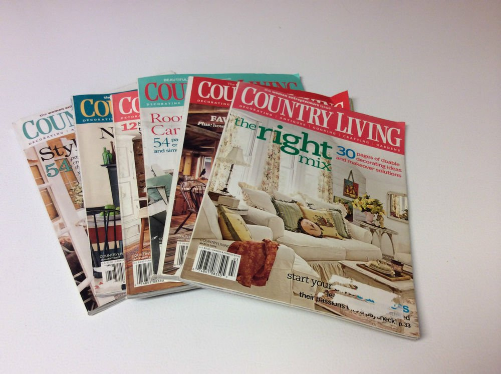 Lot of 6 Country Living Magazines - 2006, 2007 - Decorating, Antiques, Craft etc